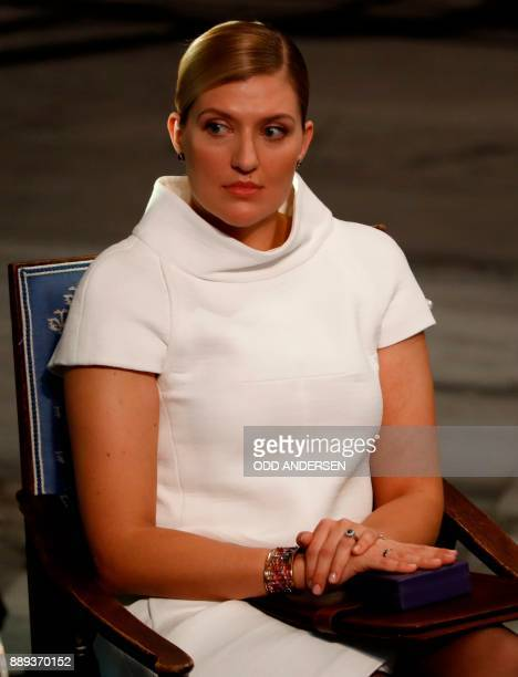 Beatrice Fihn leader of ICAN attends the award ceremony of the 2017 Nobel Peace Prize at the city hall in Oslo Norway on December 10 2017 The Nobel...