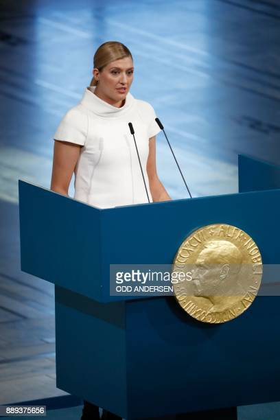 Beatrice Fihn leader of ICAN gives an acceptance speech during the award ceremony of the 2017 Nobel Peace Prize at the city hall in Oslo Norway on...