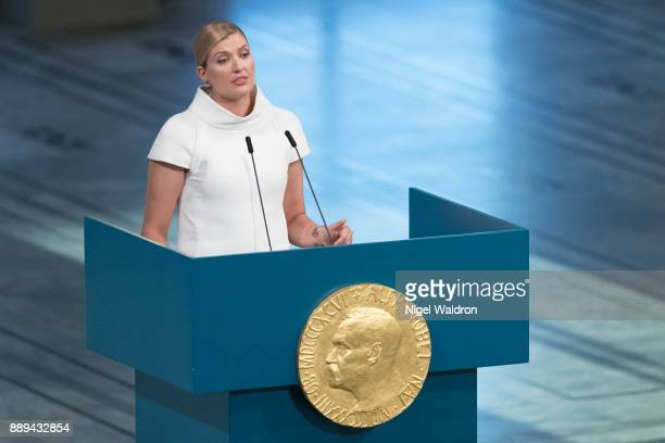 Beatrice Fihn the Executive Director for ICAN Nobel Peace Prize winner 2017 delivers her acceptance speech and stresses the importance to abolish...