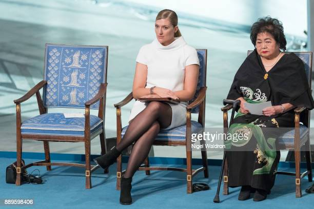 Beatrice Fihn the Executive Director International Campaign to Abolish Nuclear Weapons and Setsuko Thurlow attend the Nobel Peace Prize ceremony at...