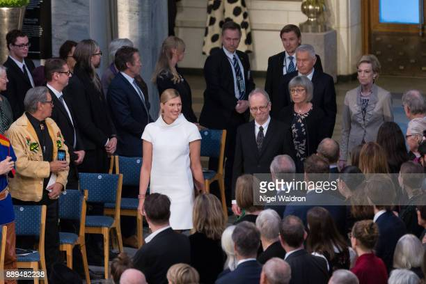 Beatrice Fihn the Executive Director International Campaign to Abolish Nuclear Weapons Henrik Syse Nobel Committee of Norway attend the Nobel Peace...