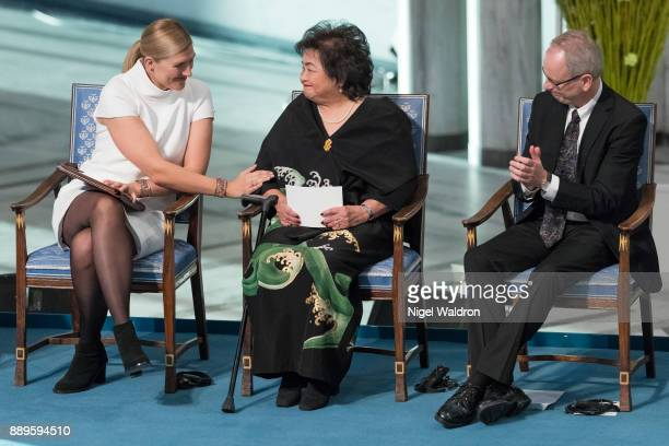 Beatrice Fihn the Executive Director International Campaign to Abolish Nuclear Weapons Setsuko Thurlow and Henrik Syse Nobel Committee of Norway...