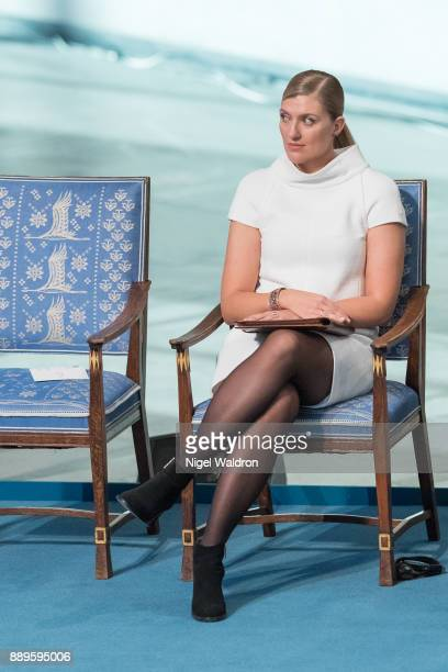 Beatrice Fihn the Executive Director International Campaign to Abolish Nuclear Weapons attends the Nobel Peace Prize ceremony at Oslo City Town Hall...