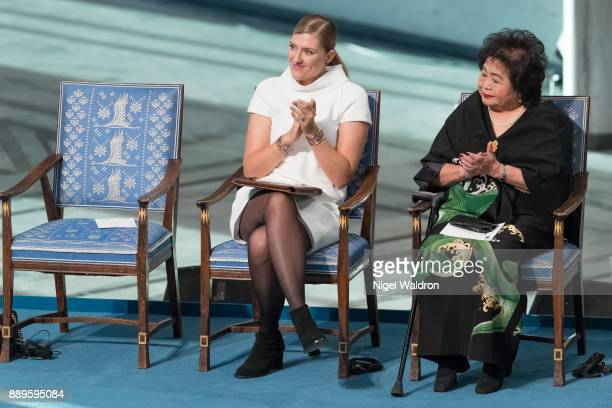 Beatrice Fihn the Executive Director International Campaign to Abolish Nuclear Weapons Setsuko Thurlow enjoy the Nobel Peace Prize ceremony at Oslo...