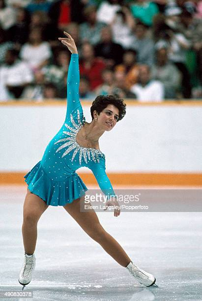 Beatrice Gelmini of Italy in action in the ladies figure skating event during the Winter Olympic Games in Calgary Canada circa February 1988