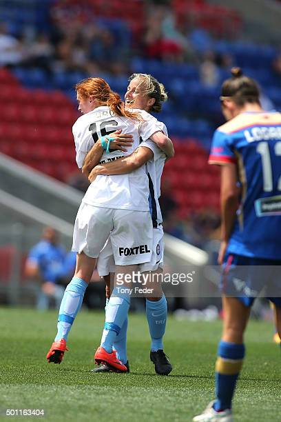 Beatrice Goad of Melbourne City celebrates with a team mate after scoring a goal during the round nine W-League match between the Newcastle Jets and...