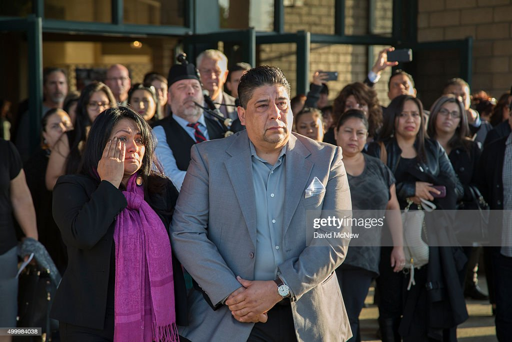 Beatrice Gonzalez and Jose Hernandez, mother and step father of Paris attack victim Nohemi Gonzalez, stand outside the Calvary Chapel following funeral services on December 4, 2015 in Downy, California. Gonzalez, 23, was one of 17 Cal State Long Beach students attending Strate College of Design in Paris as part of a semester abroad program when the coordinated attacks that killed 129 people erupted in multiple locales, including the Bataclan theater.