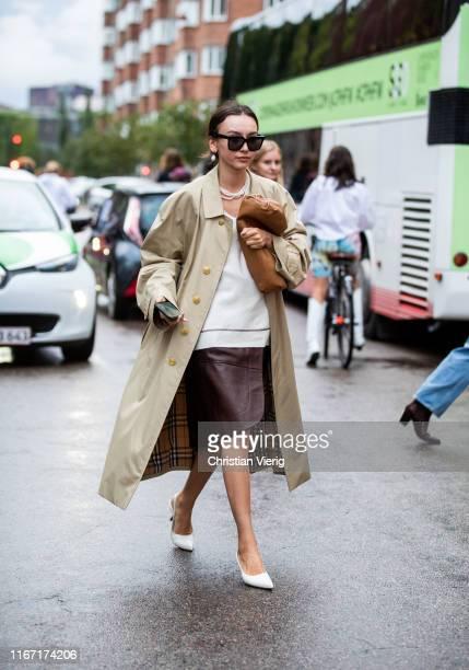 Beatrice Gutu is seen wearing trench coat outside Saks Potts during Copenhagen Fashion Week Spring/Summer 2020 on August 08, 2019 in Copenhagen,...