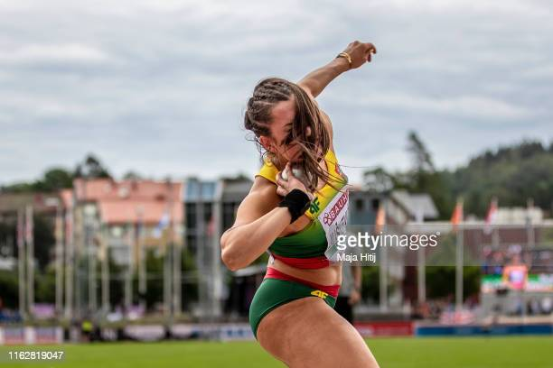 Beatrice Juskeviciute of Lithuania competes during Heptathlon Women Shot Put on July 18 2019 in Boras Sweden