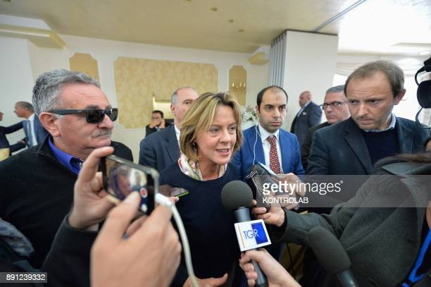 Beatrice Lorenzin Minister of Health with journalists during a health press conference in Calabria southern Italy