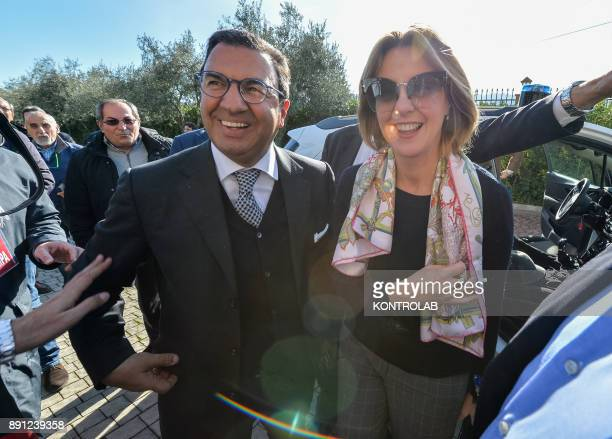 Beatrice Lorenzin Minister of Health with Senator Antonio Gentile on arrival at the health press conference in Calabria southern Italy