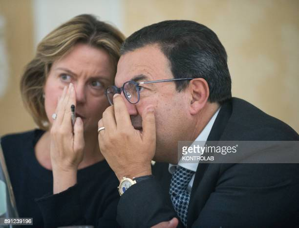 Beatrice Lorenzin Minister of Health with Senator Antonio Gentile during press conference in Calabria southern Italy