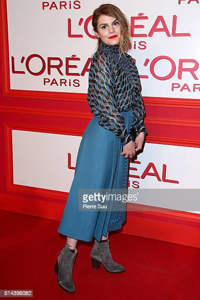 Beatrice Martin attends the L'Oreal Red Obsession Party Photocall as part of the Paris Fashion Week Womenswear Fall/Winter 2016/2017 on March 8 2016...