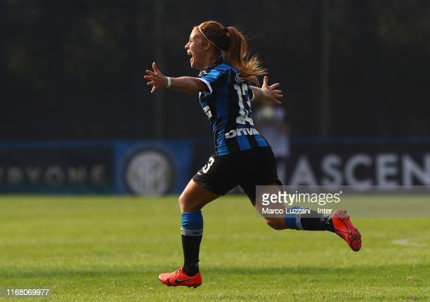 Beatrice Merlo of FC Internazionale celebrates her goal during the Women Serie A match between FC Internazionale v Hellas Verona on September 14 2019...