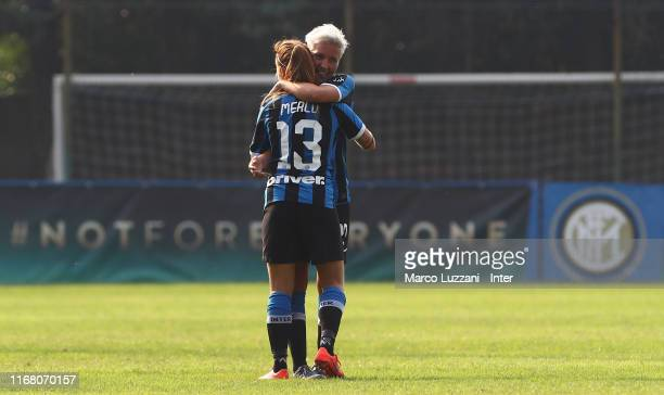 Beatrice Merlo of FC Internazionale celebrates her goal with her teammate Stefania Tarenzi during the Women Serie A match between FC Internazionale v...