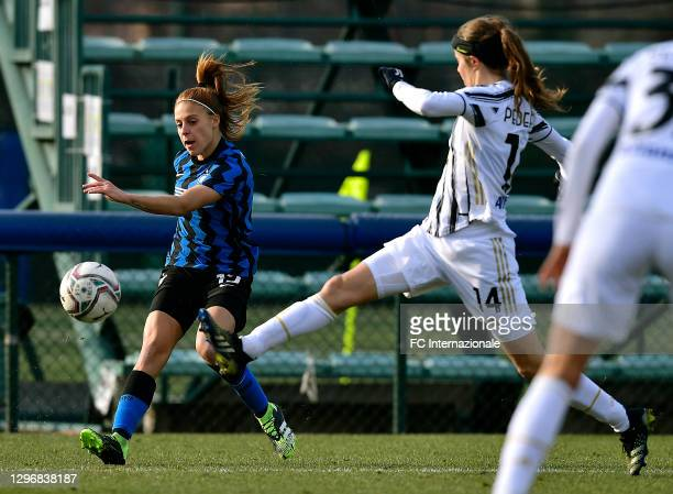 Beatrice Merlo of FC Internazionale crosses during the Women Serie A match between FC Internazionale and Juventus at Suning Youth Development Centre...