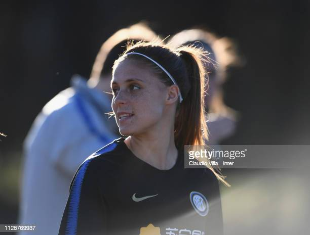 Beatrice Merlo of FC Internazionale Women looks on during a training session at Suning Youth Development Centre in memory of Giacinto Facchetti on...