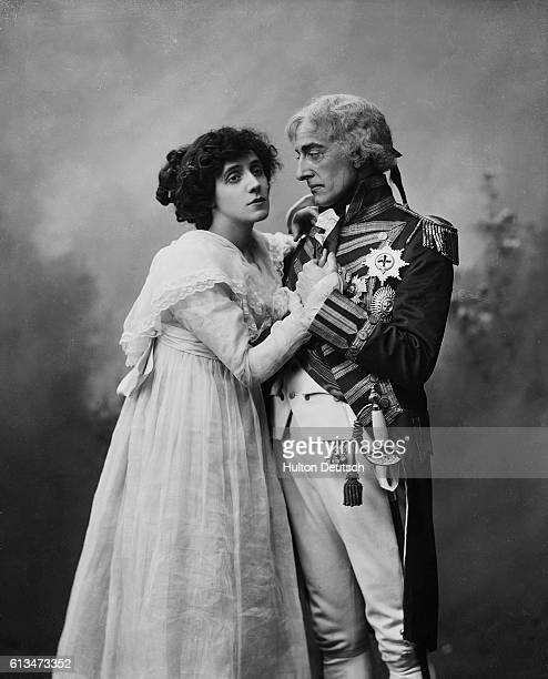 Beatrice Mrs Patrick Campbell with Johnson ForbesRobinson in a scene from the play Nelson's Enchantress