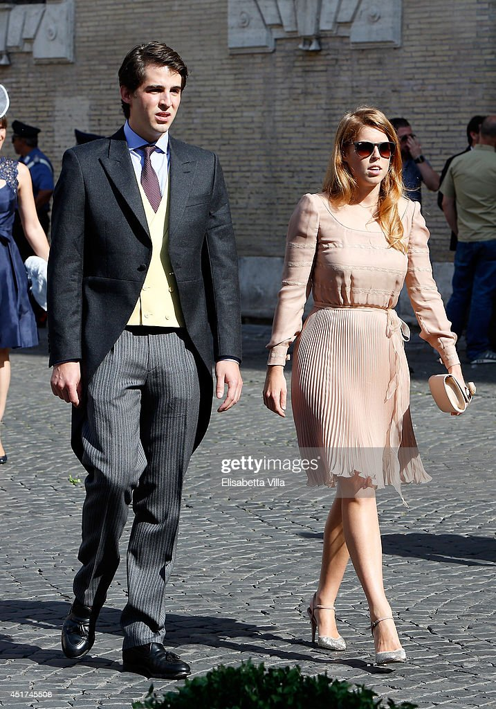 Beatrice of York attends the wedding of Prince Amedeo Of Belgium and Elisabetta Maria Rosboch Von Wolkenstein at Basilica Santa Maria in Trastevere on July 5, 2014 in Rome, Italy.