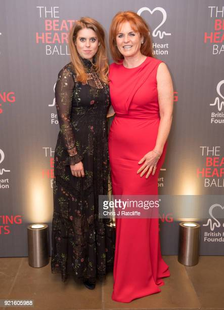 Beatrice Princess of York and Sarah Ferguson Duchess of York attends the British Heart Foundation's 'The Beating Hearts Ball' at The Guildhall on...