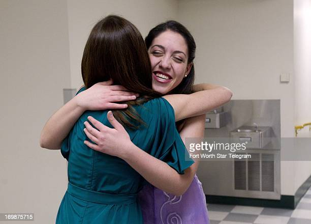 Beatrice Rana of Italy greets Arjola Miruku of Fort Worth Tex backstage after her performance during the Van Cliburn International Piano Competition...
