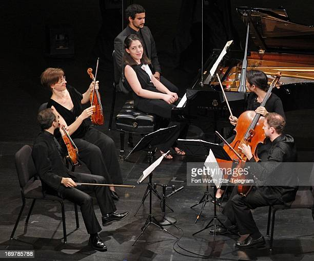 Beatrice Rana of Italy performs with the Brentano Chamber Quartet during the first day of the semifinal round of the 14th Van Cliburn International...
