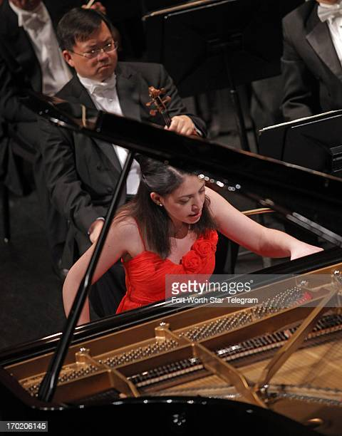 Beatrice Rana of Italy performs with the Fort Worth Symphony Orchestra under the direction of Leonard Slatkin on the third day of the final round of...