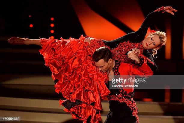 Beatrice Richter and Vadim Garbuzov perform on stage during the 6th show of the television competition 'Let's Dance' on April 24 2015 in Cologne...