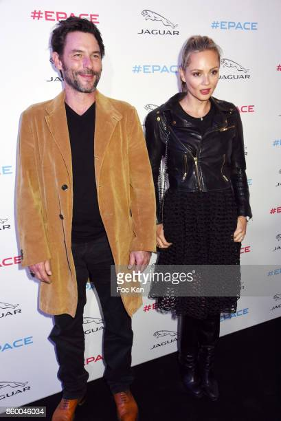 Beatrice Rosen and Sagamore Stevenin attend the Jaguar EPace Launch Party at Studio Acacias on October 10 2017 in Paris France