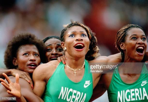 Beatrice Utondu Faith Idehen Christy OparaThompson and Mary Onyali of Nigeria react to winning the bronze medal in the Women's 4 x 100 metres Relay...