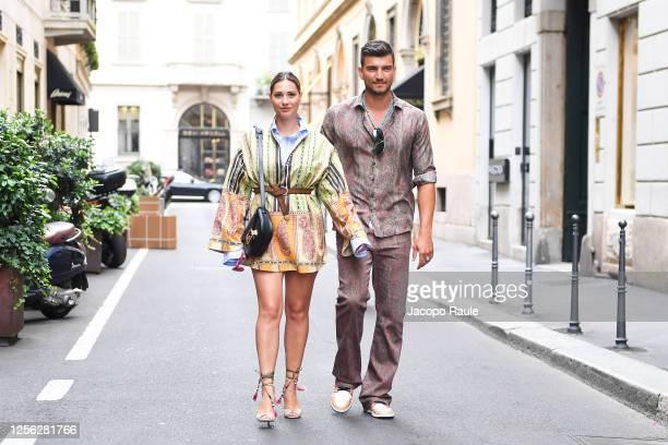Beatrice Valli and Marco Fantini are seen arriving at the Four Season Hotel ahead of the Etro Fashion Show on July 15 2020 in Milan Italy
