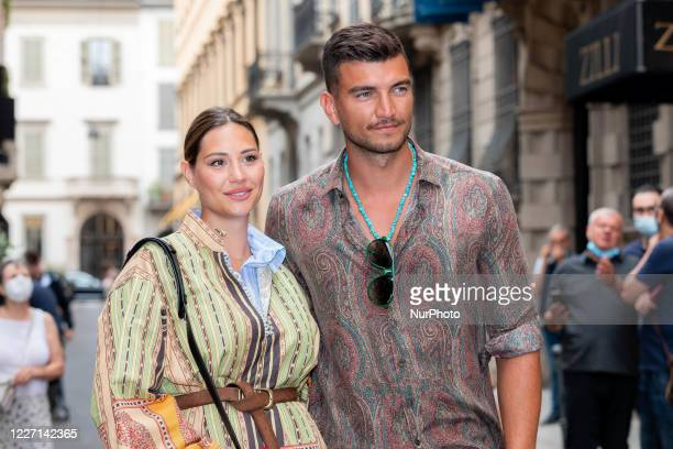 Beatrice Valli and Marco Fantini attends the Etro fashion show during Milan Digital Fashion Week on July 15 2020 in Milan Italy