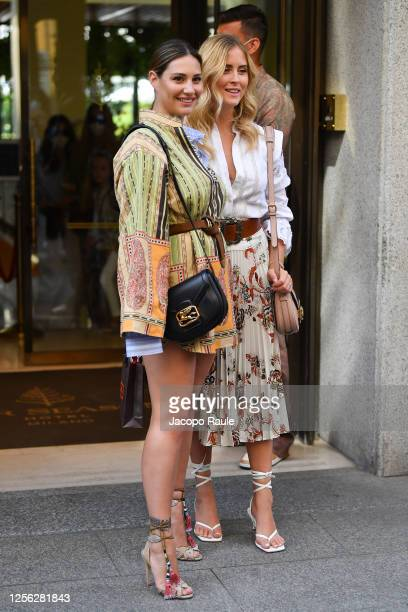 Beatrice Valli and Valentina Ferragni are seen arriving at the Four Season Hotel ahead of the Etro Fashion Show on July 15 2020 in Milan Italy