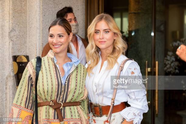 Beatrice Valli and Valentina Ferragni attends the Etro fashion show during Milan Digital Fashion Week on July 15 2020 in Milan Italy