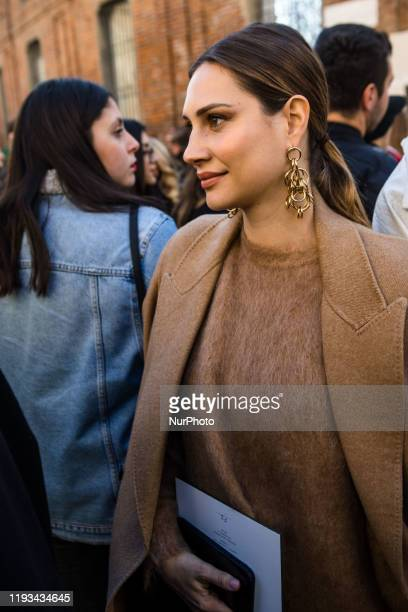 Beatrice Valli arrives at Salvatore Ferragamo fashion show during the Milan Fashion Week 2020 in Milan Italy on January 12 2020