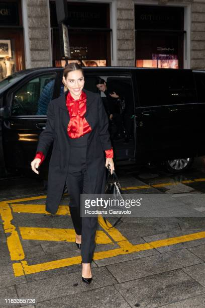 Beatrice Valli arrives at the presentation of Holiday MAC Starring You Collection at MAC Pro Store on October 24 2019 in Milan Italy