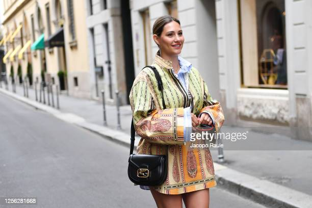 Beatrice Valli is seen arriving at the Four Season Hotel ahead of the Etro Fashion Show on July 15 2020 in Milan Italy