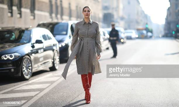 Beatrice Valli is seen wearing a Salvatore Ferragamo midi dress before Salvatore Ferragamo during Milan Fashion Week Fall/Winter 2020-2021 on...