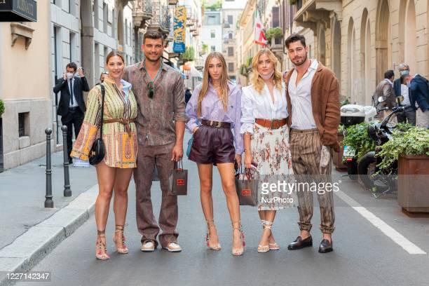 Beatrice Valli Marco Fantini Ginevra Mavillam Valentina Ferragni and Luca Vezil attends the Etro fashion show during Milan Digital Fashion Week on...
