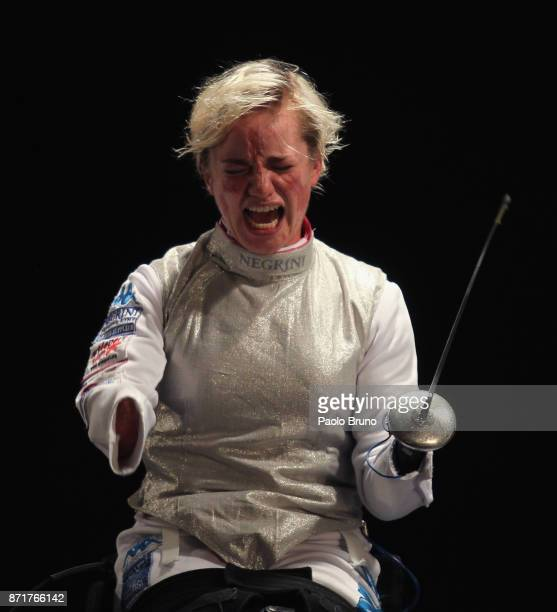 Beatrice Vio of Italy celebrates after winning the Women's Final match foil fencing during the IWAS Wheelchair Fencing World Championships on...