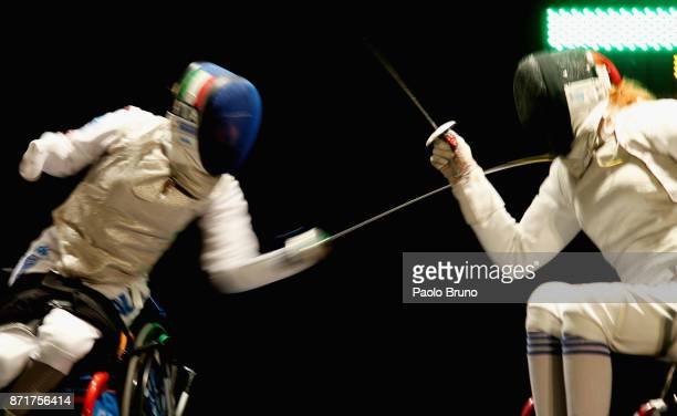 Beatrice Vio of Italy competes with Irina Mishurova of Russia in the Women's SemiFinal match foil fencing during the IWAS Wheelchair Fencing World...