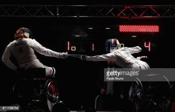 Beatrice Vio of Italy competes with Irma Khetsuriani of Georgia in the Women's QuarterFinal match foil fencing during the IWAS Wheelchair Fencing...