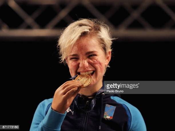 Beatrice Vio of Italy poses with the gold medal after winning the Women's Final match foil fencing during the IWAS Wheelchair Fencing World...