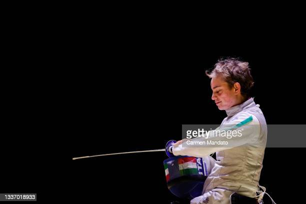 Beatrice Vio of Team Italy competes against Gyongyi Dani of Team Hungary during the Women's Foil team Semi-final on day 5 of the Tokyo 2020...