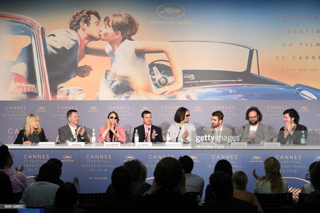Beatrice Wachsberger, Jake Weiner, Adele Romanski, Chris Bender, David Robert Mitchell, Mike Gioulakis, Julio Perez IV and Rich Vreeland attends 'Under The Silver Lake' Press Conference during the 71st annual Cannes Film Festival at Palais des Festivals on May 16, 2018 in Cannes, France.