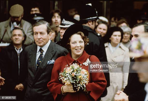 Beatrix Queen of the Netherlands and her husband Prince Claus pay a visit to a city shopping center during their state visit to Britain