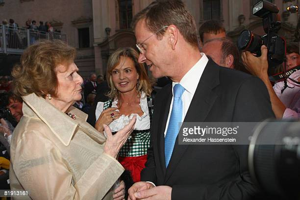 Beatrix von SchoenburgGlauchau attends with her daughter Maya Flick and German politican Guido Westerwelle the opera 'Carmen' at the Thurn und Taxis...