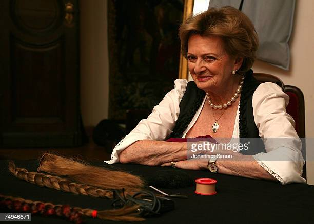 Beatrix von SchoenburgGlauchau mother of Gloria von Thurn und Taxis looks on prior to the rehearsal of the operetta Weisses Roessl during the Thurn...