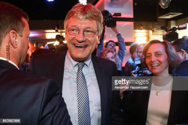 Beatrix von Storch and Joerg Meuthen of the Alternative fuer Deutschland arrive at the political party during the federal elections in Germany on...