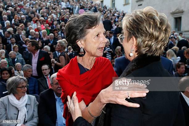 Beatrix von Thurn und Taxis and Gloria von Thurn und Taxis attend the Thurn Taxis Castle Festival 2016 'Carmen' Opera Premiere on July 15 2016 in...